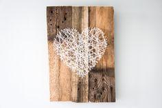 Een houten hart van wol, leuk DIY project