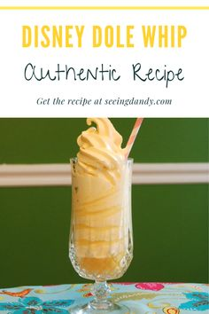This is the real authentic Dole Whip recipe that's served at Disney. If you are a fan of Disney World, Disneyland and Disney food then this delicious pineapple soft serve recipe is for you! Easy Desserts, Delicious Desserts, Dessert Recipes, Yummy Food, Healthier Desserts, Summer Desserts, Rib Recipes, Steak Recipes, Lasagna Recipes