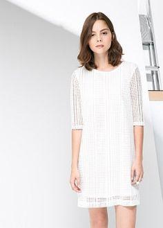 Vestido crochet - Mujer | MANGO