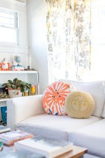 Round Flora Pillow spotted in this gorgeous house tour! Create A Board, Round Pillow, Apartment Living, My Room, House Colors, Decorative Pillows, Bean Bag Chair, Living Spaces, Throw Pillows