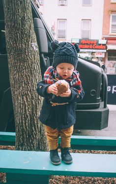 Baby Winterwear | Knit Beanie, Boots, and Plaid Scarf