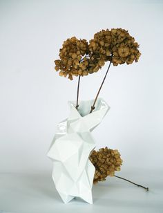 Modern geometric white porcelain Vase  contrmporary by ENDEsign, $180.00