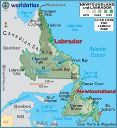 The capital of Newfoundland and Labrador is St. John's, located on the Avalon Peninsula. It is not only North America's oldest city, but its most easterly point. I lived 3 years in Goose Bay Labrador. Newfoundland Map, Newfoundland And Labrador, O Canada, Canada Travel, Goose Bay, West Coast Canada, Travel General, Canada Images, Family Cruise