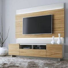 Latitude Run® Connie-Agnes TV Stand | Wayfair Tv Stand And Panel, Tv Panel, Floating Entertainment Center, Entertainment Centers, Entertainment Wall, Bungalow, Photo Frame Display, Tv Display, Off White Walls