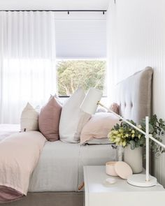 Sublime Springtime styling inspo by The Stables with our Lucia bedhead in Pinnacle Silver linen. Bedroom Inspo, Bedroom Colors, Home Bedroom, Bedroom Furniture, Master Bedroom, Bedroom Decor, Bedroom Ideas, Bedroom Inspiration, Grey Room