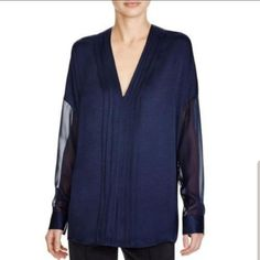 Vince Navy Silk Pleated Blouse Size 12 (L) Blouse Online, Navy Women, Navy Tops, V Neck Tops, Boyfriend Jeans, Blouses For Women, Silk, Long Sleeve, How To Wear