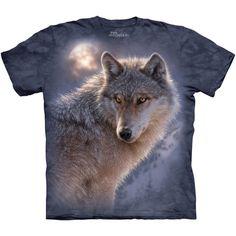 The Mountain ADVENTURE WOLF Full Moon Night Snow Wolves T-Shirt S-3XL NEW #TheMountain #GraphicTee