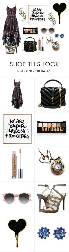 """""""We Are Superheroes and Rockstars"""" by fashion2religion ❤ liked on Polyvore featuring Notte by Marchesa, Yves Saint Laurent, DENY Designs, NYX, Urban Decay, Ace, Jessica Simpson and Alice Joseph Vintage"""