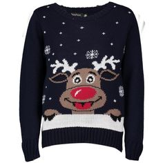 Boohoo Amy Kids Reindeer Christmas Jumper ($12) ❤ liked on Polyvore featuring tops, sweaters, christmas, jumpers, shirts, navy, turtleneck sweater, sequin shirt, christmas jumpers and xmas sweaters