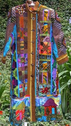 Coat by Rachel Clark Quilted Clothes, Sewing Clothes, Rachel Clark, Altered Couture, African Fabric, Fabric Art, Boro, Textile Art, Wearable Art