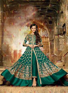 Beguiling Resham Work Green Anarkali Salwar Kameez