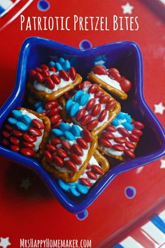 Patriotic American Flag Pretzel Bites - super cute, and all you need is 3 ingredients & a few minutes. So easy, even your little kids can make them! Perfect for the 4th of July or Memorial Day! | MrsHappyHomemaker.com