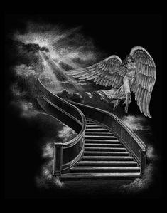Stairway To Heaven Tattoo, Stairs To Heaven, Angel Tattoo Designs, Design Tattoo, Best Sleeve Tattoos, Body Art Tattoos, Clock Tattoos, Stairs Tattoo, Chicano