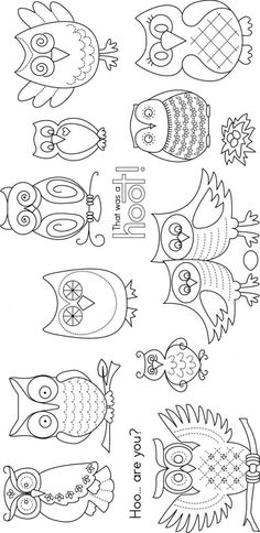 Cute owl patterns More - Crafts Journal Owl Patterns, Embroidery Patterns, Hand Embroidery, Sewing Patterns, Pattern Ideas, Craft Patterns, Quilt Patterns, Crochet Patterns, Colouring Pages