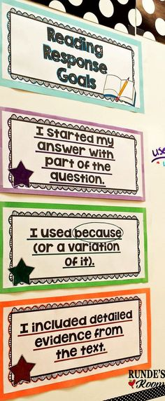 LOVE these scaffolded reading response goals - my students' responses have grown so much from the beginning of the year.: