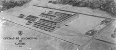 Ilustração de 1943 mostrando o projeto para as futuras instalações das oficinas da Rede de Viação Paraná-Santa Catarina em Curitiba. (Imagem: Acervo do Instituto Histórico e Geográfico do Paraná)