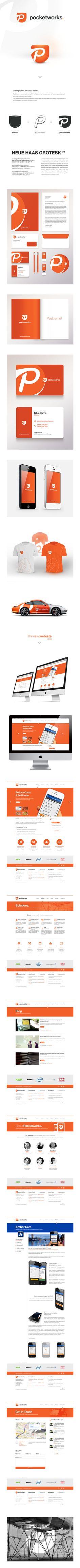 Pocketworks visual identity by Tomasz Zagórski Corporate Design, Corporate Branding, Brand Identity Design, Branding Design, Logo Design, Identity Branding, Graphic Design, Packaging, Typography Logo