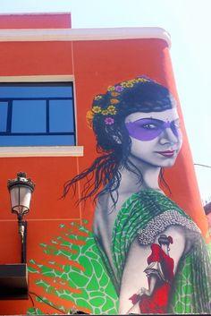 The Amor de Dios flamenco school in Madrid. A beautiful graffiti of a flamenco dancer.