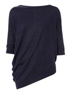 Weekend MaxMara Carlo 3/4 sleeve asymmetric hem knit top