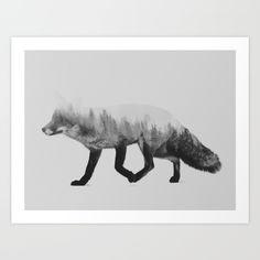 The Fox (black & white version) Art Print by Andreas Lie - $18.00