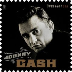 """The United States Postal Service plans to issue a Johnny Cash stamp later this year as part of its new """"Music Icons"""" series. The stamp is designed to resemble a 45 rpm record sleeve."""