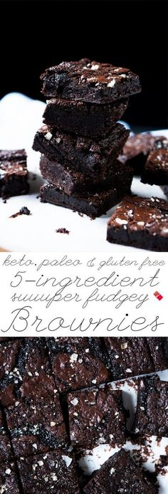 These paleo and keto brownies are extra fudgy, super easy, just 5 ingredients and 1g net carbs a pop! Now that's what we call ideal! #ketobrownies #paleobrownies