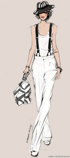 Fashion Illustrations - Collection of fashion illustrations from around the web from rough croquis to designer skecthes. Be inspired, study techniques or submit your own fashion art. Fashion Illustration Sketches, Illustration Mode, Fashion Sketchbook, Fashion Sketches, Look Fashion, Fashion Art, Fashion Models, Girl Fashion, Hipster Fashion