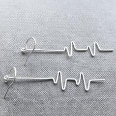 Love this idea—handmade heartbeat (EKG) earrings❣ FioreJewellery