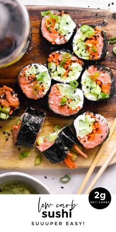 *NEW* Sushi is one of the easier low carb fish recipes - there is almost no prep and it's great when hosting or as an addition to your cache of low carb lunch ideas. #lowcarbsushi #ketosushi #sushi #keto #lowcarb Low Carb Sushi, Low Carb Lunch, Low Carb Diet, Paleo Sushi, Sushi Sushi, Healthy Sushi Rolls, Homemade Sushi Rolls, Sushi Lunch, Healthy Low Carb Recipes