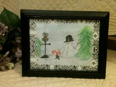 Let It Snow Framed Watercolor Snowman by OurBurrowDesign on Etsy, $15.00