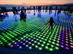 Nikola Bašić's LED light installation titled Saudação ao Sol, translated as Greeting to the Sun...in scenic coastal town of Zadar, Croatia. - via mymodernmet.com