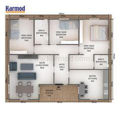 Villa Plan, Long House, House Map, Village Houses, Park Homes, House Layouts, Home Fashion, Floor Plans, House Plans