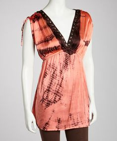 Take a look at this Coral Tie-Dye Bead Tunic - Women by Ash & Sara on #zulily today!
