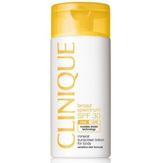 Clinique Broad Spectrum SPF 30 Mineral Sunscreen Lotion for Body ($32) ❤ liked on Polyvore featuring beauty products, bath & body products, sun care, no color and clinique
