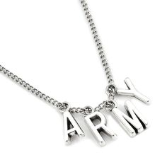 BTS Jimin Army Necklace - Gotamochi is the BTS Kpop Merch and Kawaii Clothes Aesthetics Store - Shop our largest selection of Kpop and Kawaii Apparel An ARMY essential! Rep BTS and match Jimin with this cute necklace. Jewelry Kpop, Cute Jewelry, Charm Jewelry, Jewelry Accessories, Fashion Jewelry, Music Jewelry, Fashion Necklace, Boho Jewelry, Silver Jewelry
