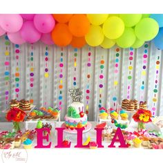 Love this Hungry Caterpillar desert table that features our cake I did for Ellia's Birthday 💜❤️💛💚💙 Cake by Styling by Cake topper Cookies Cupcakes CakePops 1st Birthday Party Themes, Diy Birthday Decorations, Rainbow Birthday Party, Birthday Cake, 5th Birthday, Birthday Desert, Rainbow Unicorn Party, Polka Dot Birthday, Colorful Birthday