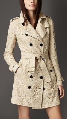 Burberry London Mid-Length Cotton Lace Trench Coat via Elizabeth Benedetto