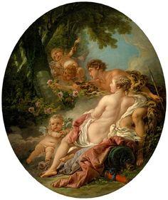 """""""Angélica y Medoro"""" de François Boucher. La historia de amor entre la bella Angélica y el tierno Medoro ha sido tratadainsistentemente a través de la literatura y de la música y, por supuesto, de la pintura."""