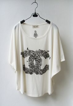 Chanel Floral Logo  Tank Top TShirt Batwing in by InfinitStyle, $22.00