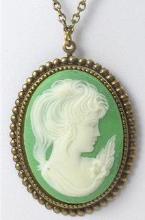 Vintage Green Cameo Necklace by TashaHussey on Etsy, $42.00