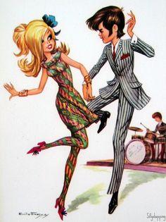 Late 1960s big eyed postcard illustration.