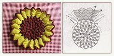 Relasé: Come fare una presina a forma di girasole all'uncinetto - schema