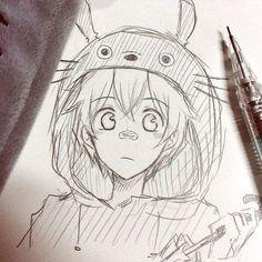 Totoro /oldartsulmao анимэ drawings, anime sketch и anime art. Anime Drawings Sketches, Anime Sketch, Manga Drawing, Manga Art, Cute Drawings, Art Sketches, Sketches Of Boys, Totoro Drawing, Pencil Drawings