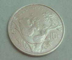 1995 Panda 1oz .999 Chinese Silver Bullion 10 Yuan Round Coin
