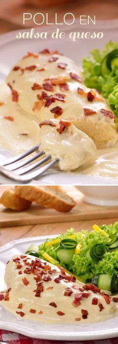 Pollo en Salsa de Queso - So Tutorial and Ideas I Love Food, Good Food, Yummy Food, Cooking Time, Cooking Recipes, Healthy Recipes, Mexican Food Recipes, Dessert Recipes, Comida Diy