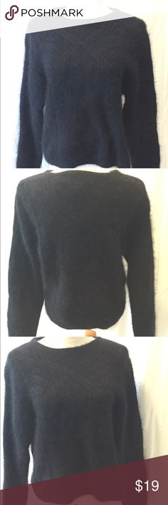"""Black Fuzzy Sweater Soft Black """"fuzzy"""" sweater made by Rafaella  Hand knitted. Please look at all photos and as all questions before purchasing. Rafaella Sweaters Crew & Scoop Necks"""