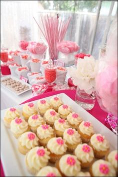 Delicious pink & white themed Bat Mitzvah candy bar. | MitzvahMarket.com