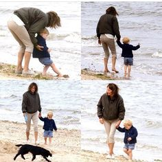 Prince George with his granny Carole at the beach on July 22,2015. . .