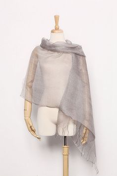 Silk and Viscose Organza Shawl Wrap Scarf Solid Silver Color COT605 #Yangtze #ShawlWrap