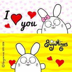 Este Mes es Perfecto para expresar nuestros sentimientos! #iloveyou   #rabbits   #illustration   #guyuminos   I Love You! http://guyuminos.blogspot.mx/2016/02/i-love-you.html